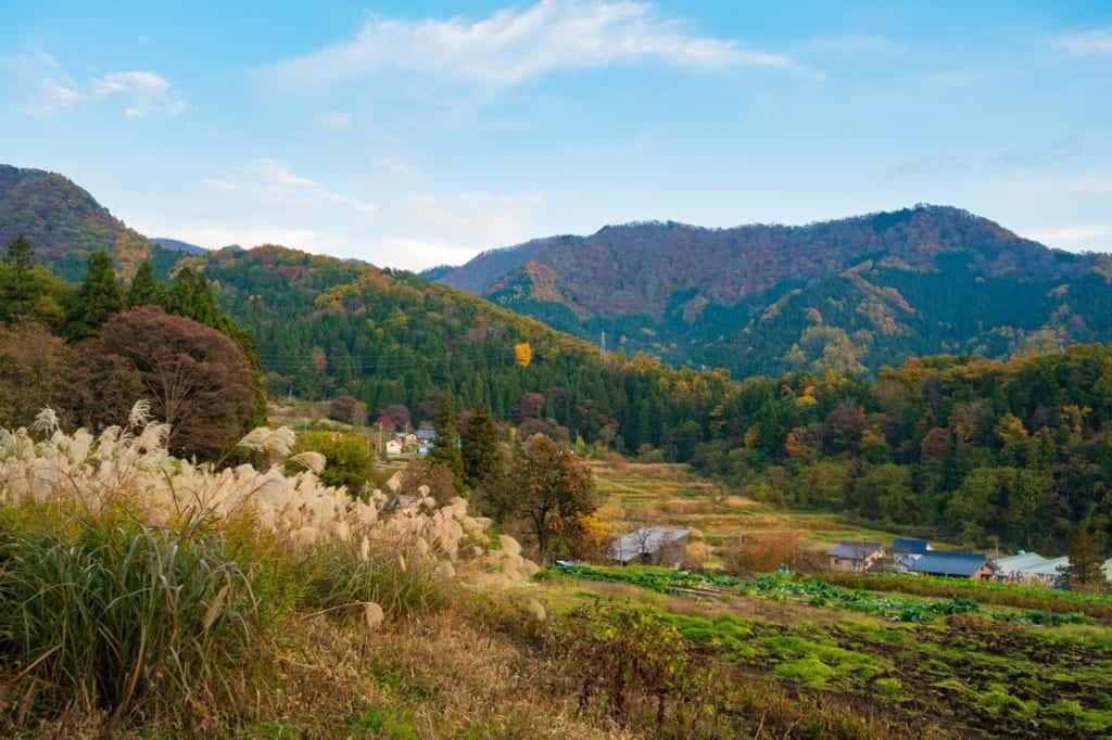Autumn landscape view of Iiyama, Nagano