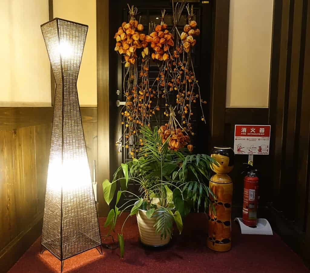 Seasonal decorations in the corridors of the ryokan Yunoyado Motoyu club
