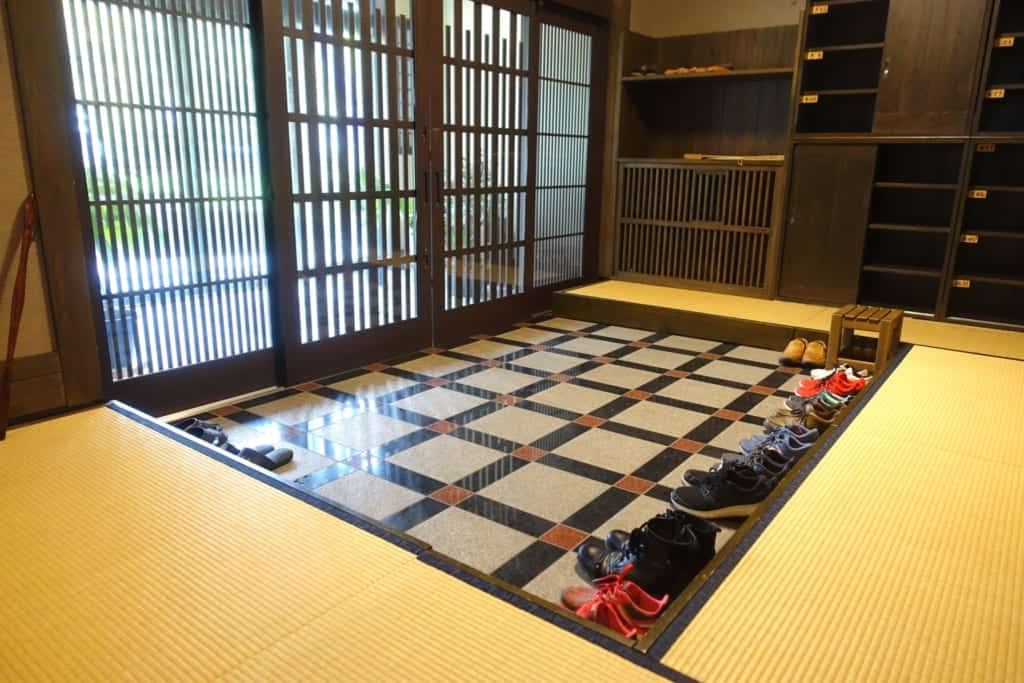 Entrance hall of the ryokan Yunoyado Motoyu club where you can take off your shoes