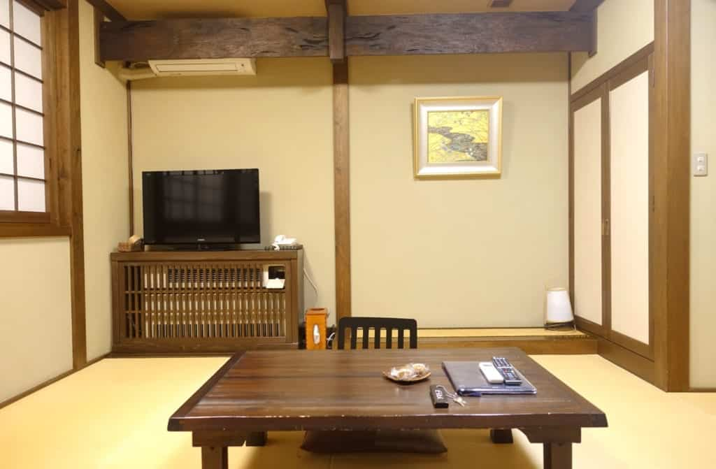 The ryokan lounge with exposed beams