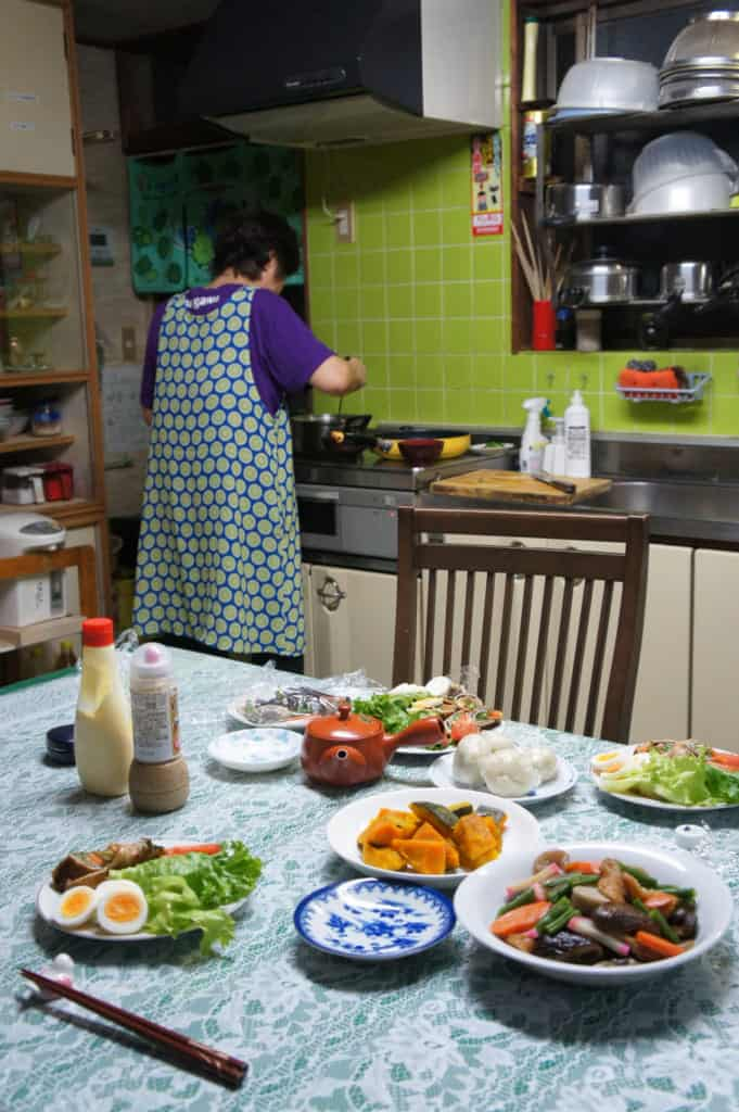 Mrs Yonemura, busy in her kitchen