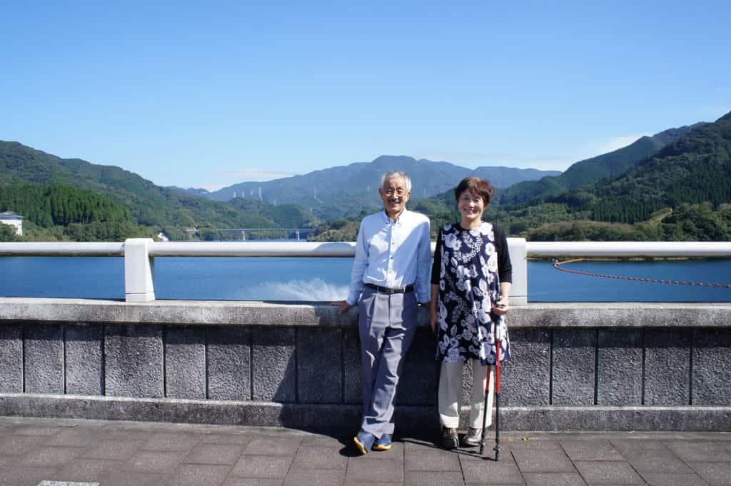 The Yonemura, posing on Ryumon dam in Kikuchi