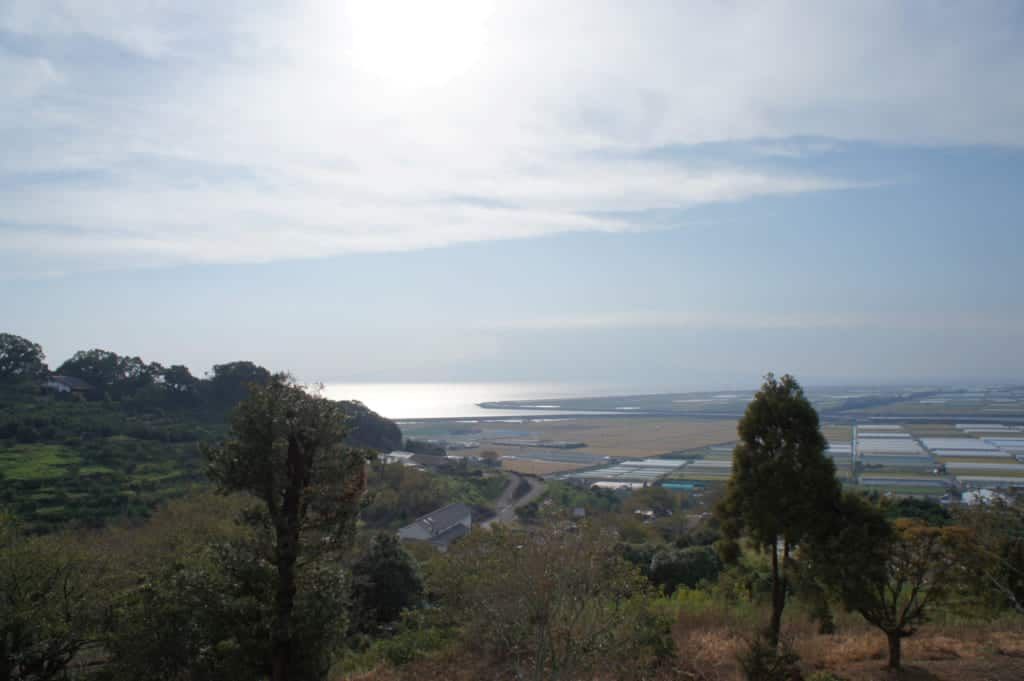 Panorama on Ariake Sea from Kusamakura onsen Tensui