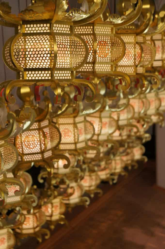 Paper lanterns displayed in Yamaga museum