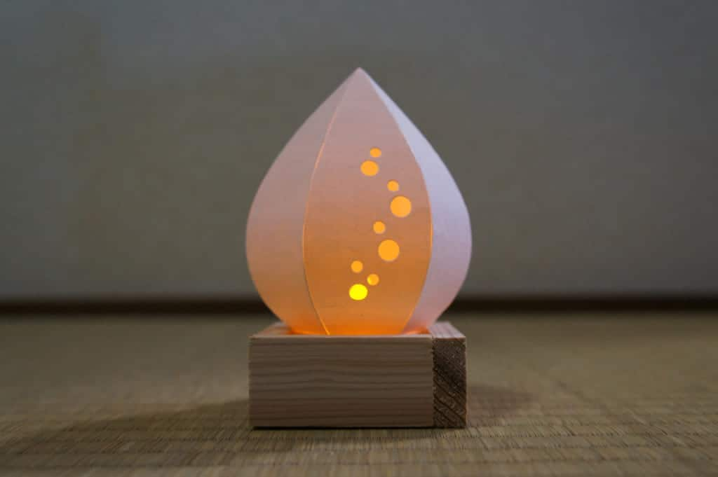 Paper lamp made during a workshop at Yamaga Lantern Museum