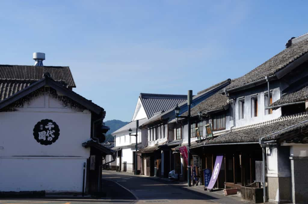 Ancient streets along Buzon Kaido road in Yamaga