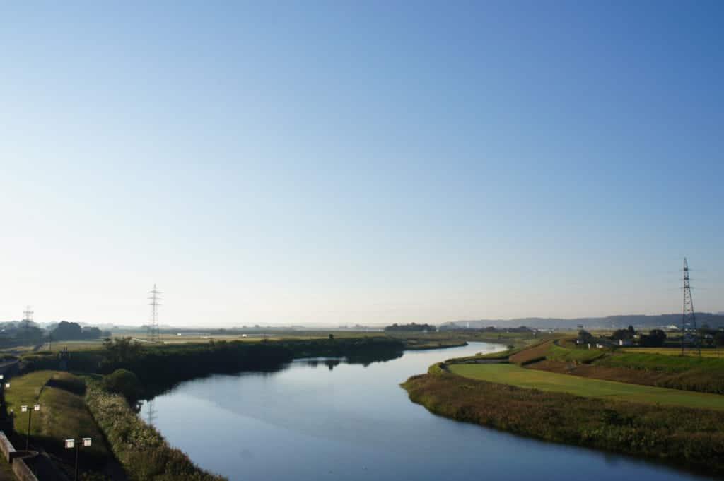 Kikuchigawa river in Yamaga Onsen in early morning