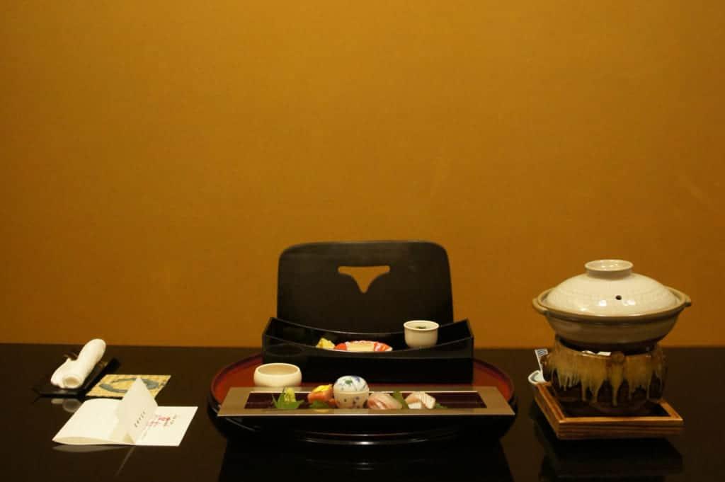 The dinner table in Seiryuso ryokan