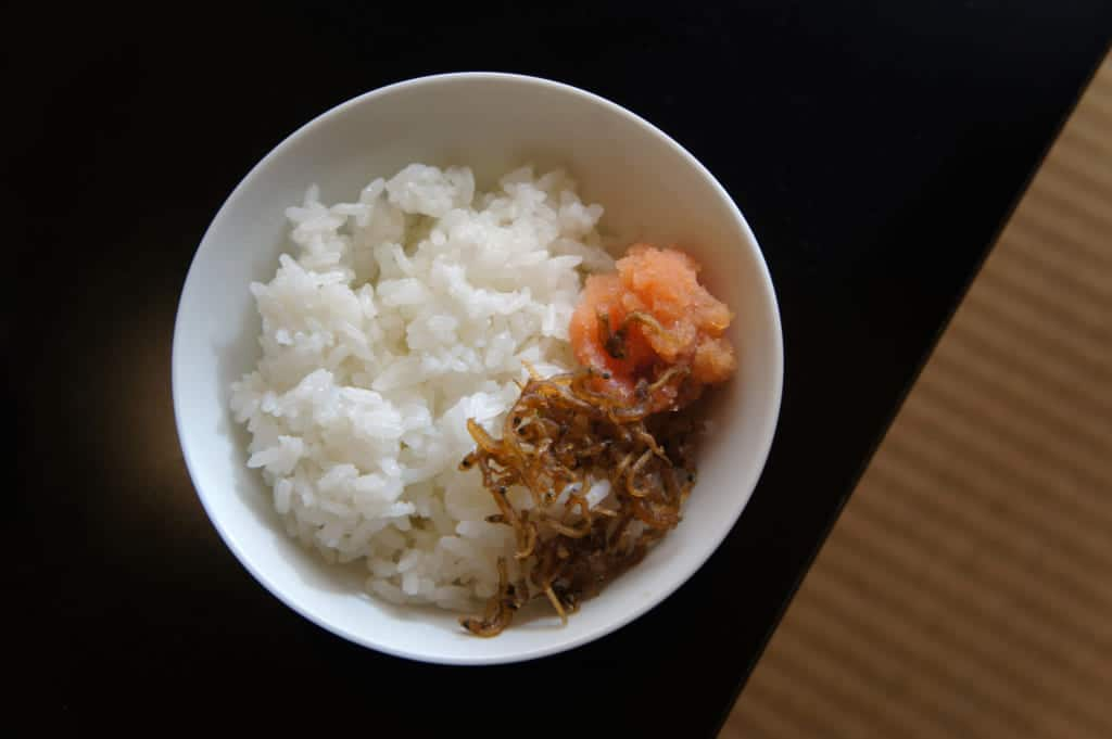 Bowl of rice with mentaiko and dried fished