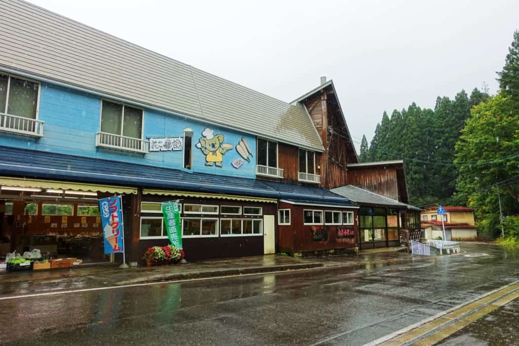 Souvenir shops at the departure for the gorges of oyasukyo.