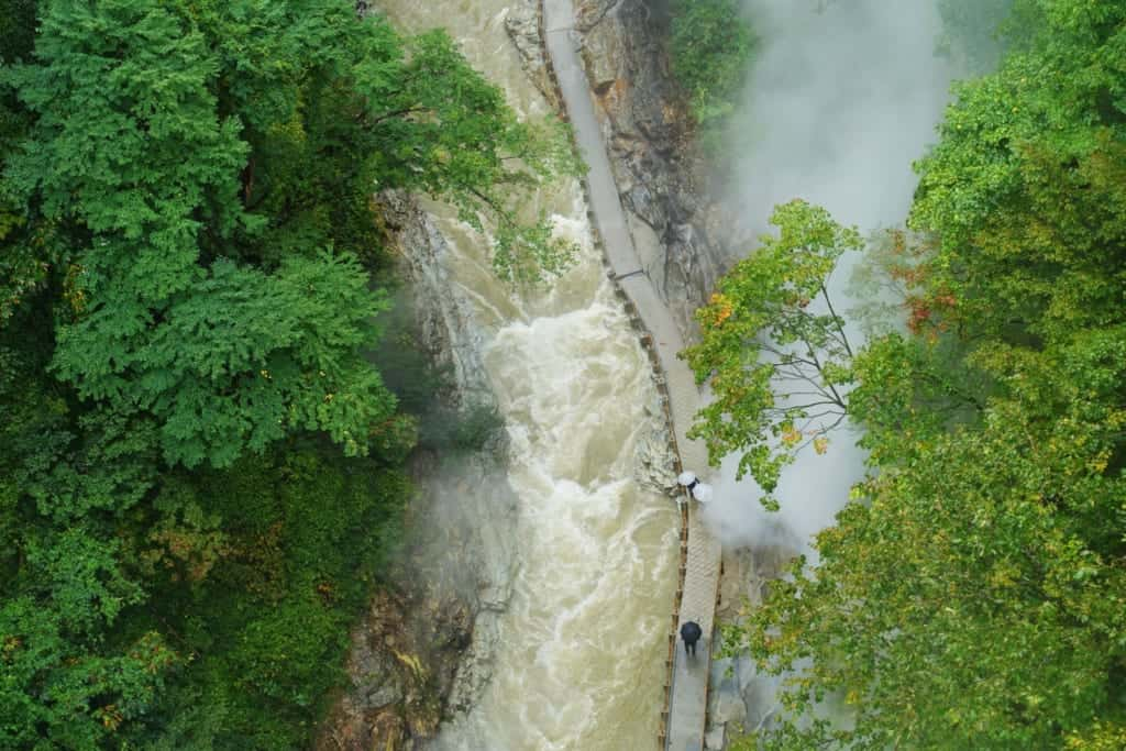 Aerial view of the river from the bridge