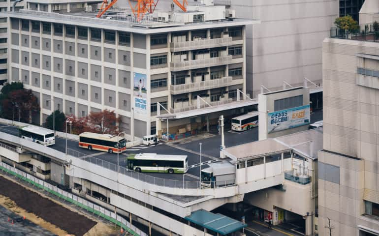 Aerial view of Hiroshima Bus Terminal