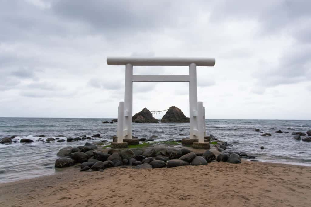 The Futamigaura Couple Rocks in Fukuoka City.