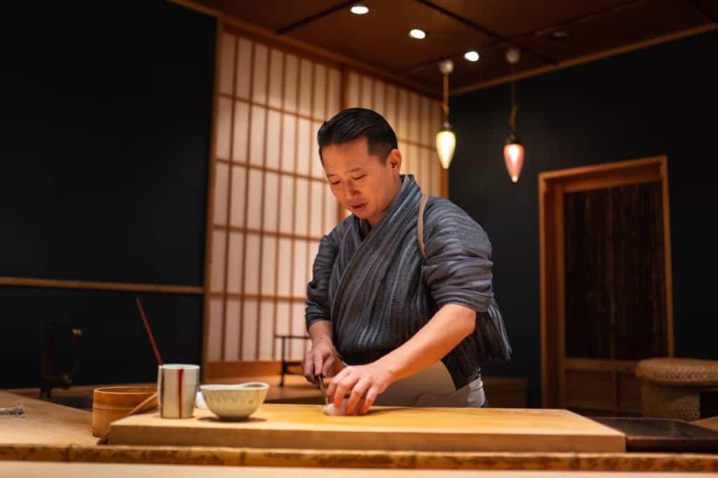 Sushi Gyoten in Fukuoka City.