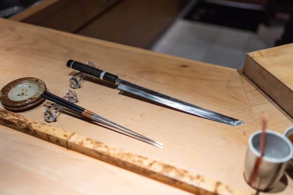 The knives of Sushi Gyoten in Fukuoka City.