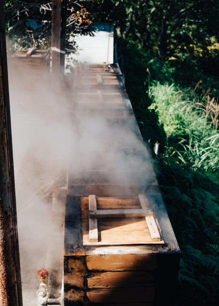 Vapeur émanant de l'installation pour cuire des aliments