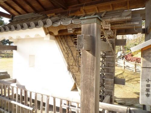 Pieza de madera en la estructura del castillo de Odawara, Japón