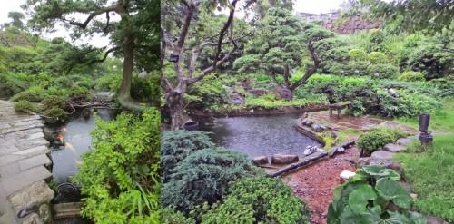 Estanques con peces en los jardines de Glover de Nagasaki (Japón)