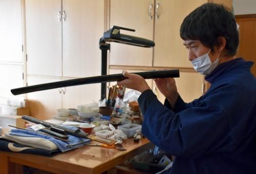 Lacado de espada samurái en Bizen Osafune.
