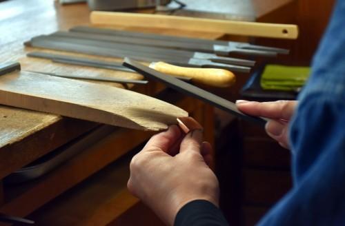 Proceso de elaboración del habaki en Bizen Osafune.