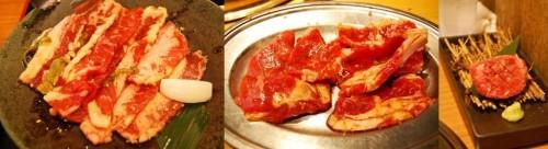 Selección de carnes yakiniku en un restaurante japonés.