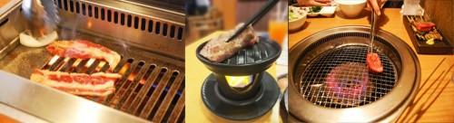 Preparando yakiniku, carne asada a la japonesa, en un restaurante japonés.