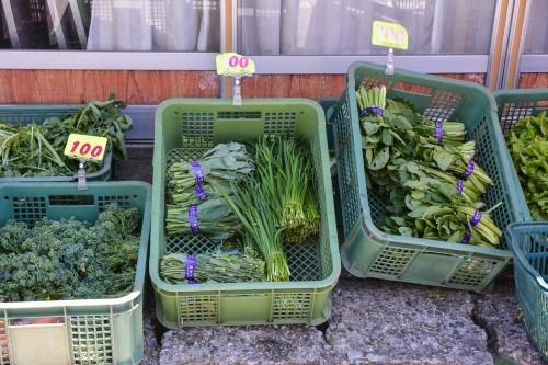 Puesto de verduras en el mercado de Murakami.