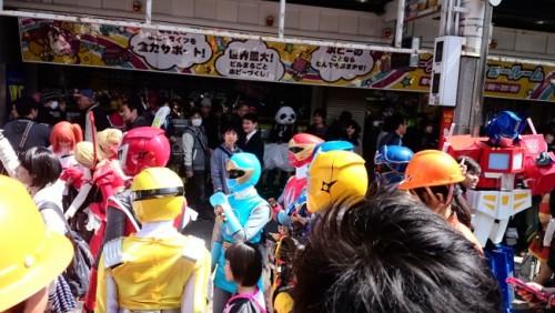 Power Rangers en el festival de cosplay de Osaka.