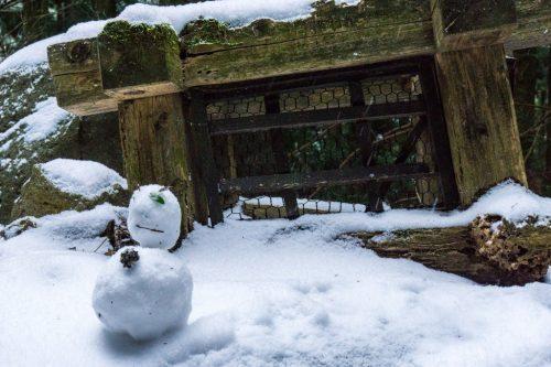 Muñeco de nieve en las inmediaciones a la Cascada Shiraino.