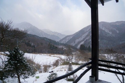 Vistas nevadas desde el Hotel Yuian de Nagiso.