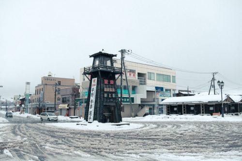 Calles de Murakami (Niigata) nevadas.