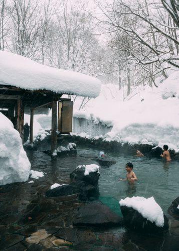 Ganiba Onsen en Invierno. Onsen Nyuto, Akita, Tohoku, Japón.