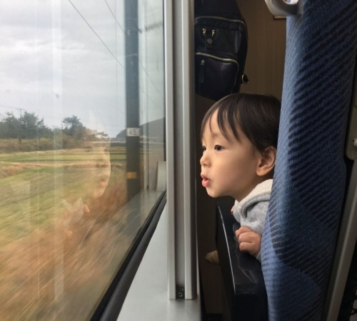 Tout le monde observe le paysage par la fenêtre.