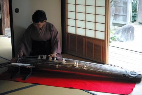 Musicienne jouant du koto pendant une cérémonie du thé, Izumi, Kyushu, Japon.