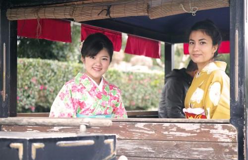 Balade en calèche en kimono à Izumi, kyushu, Japon.