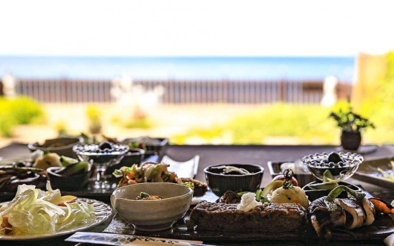 Les poissons au restaurant Nagi no Terasu Naka, Murakami, Japon
