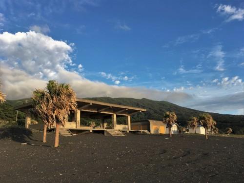 Oshima, Pacifique, île de Tokyo, cratère, Mihara, plage, sable noir