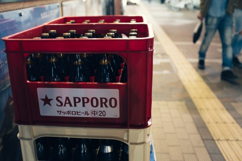 sapporo, nuit, biere, rue