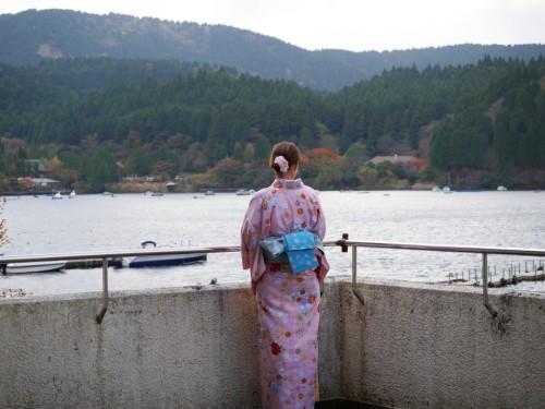 Lac Ashi, Hotel Prince Hakone, Seibu, Mont Fuji, Japon, Kimono