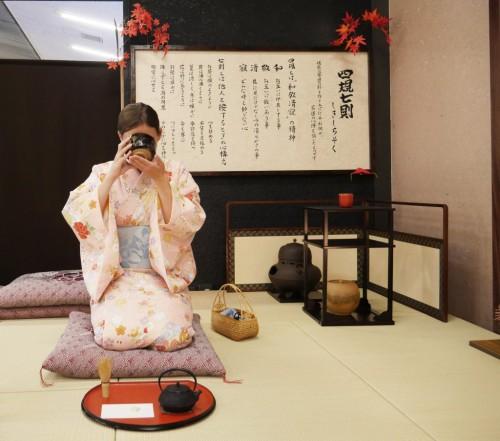 Lac Ashi, Hotel Prince Hakone, Seibu, Mont Fuji, Japon, Cérémonie du thé en Kimono