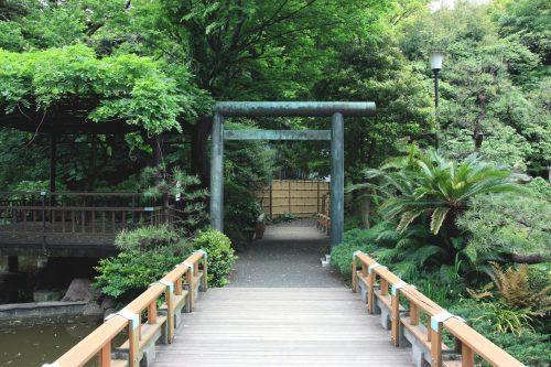 Un pont dans le jardin du sanctuaire Togo, Tokyo, Japon.