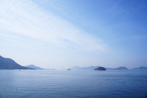Du bleu à perte de vue sur l'île d'Okunoshima, Préfecture d'Hiroshima, Japon