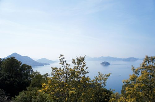 Vue sur la Mer Intérieure de Seto depuis les hauteurs de l'île d'Okunoshima, Préfecture d'Hiroshima, Japon