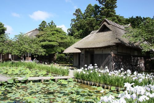 Maisons traditionnelles agricoles au musée des cultures du Nord à Niigata, Japon