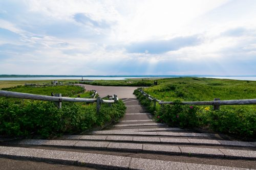 Vue sur la Mer d'Okhotsk depuis le jardin aux fleurs Koshimizu Genseikaen à Koshimizu-cho, Hokkaido, Japon