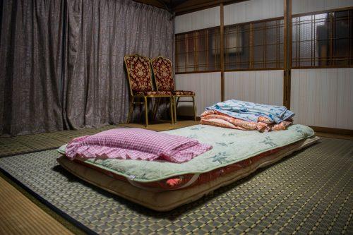 Chambre traditionnelle dans une ferme près de la ville d'Usuki, préfecture d'Oita, Japon