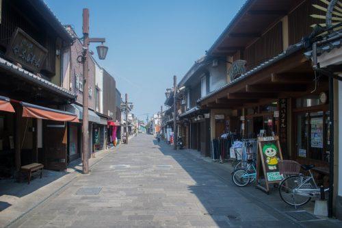 Allée commerçante à Usuki, préfecture d'Oita, Japon