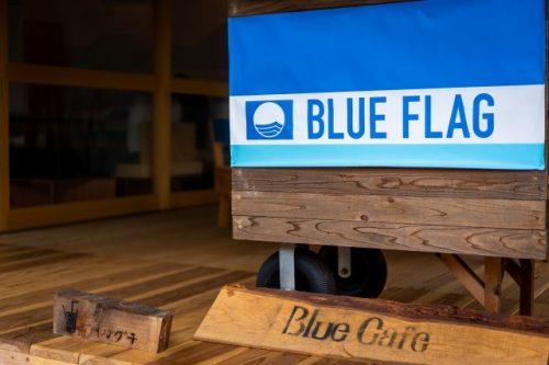 Blue Cafe à la plage de Takahama, Préfecture de Fukui, Japon