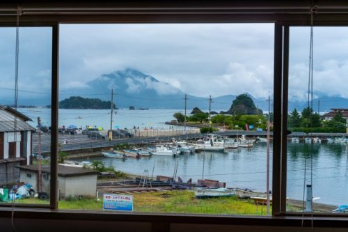 Vue depuis la chambre d'hôtes Kame House à Takahama, Préfecture de Fukui, Japon
