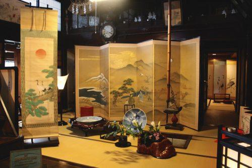 Paravents exposés au festival Machiya Byobu de Murakami, préfecture de Niigata, Japon